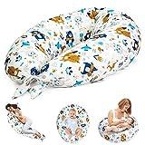 Almohada Embarazada y Cojin Lactancia - Cojín Embarazo Maternidad Dormir y Cojines Nido Bebe Grande (10. Blanco con Animales, 165 x 70 cm)