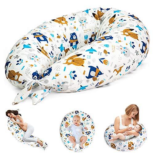 Coussin d'allaitement et de Grossesse - Oreiller Femme Enceinte Coussin pour Dormir de maternité Allaitement XXL (10. Blanc avec des Animaux, Grand (165 x 70 cm))