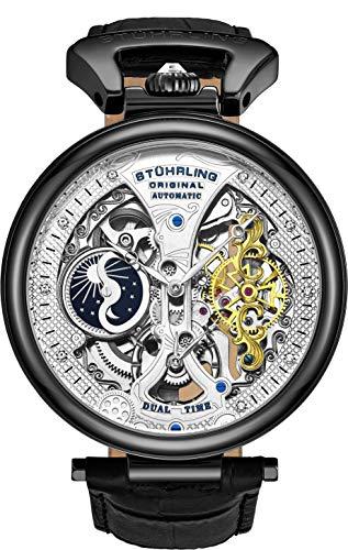 Stührling Original Herren Skelett Uhr Zifferblatt Automatik Uhr mit Kalbsleder Band und – Dual Time, AM/PM Sonne Mond schwarz