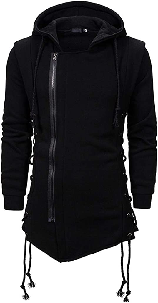 NotingBuss Classic Hoodie Men,Long Sleeve Irregular Hem Zipper Drawstring Jackets Fashion Slim Fit Trench Coat