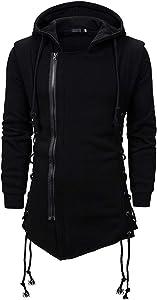 Leewa Men's Hooded Sweatshirt Gothic Side Zipper Coat Winter Dark Casual Hooded Laced Pullover Solid Color Jacket Men's