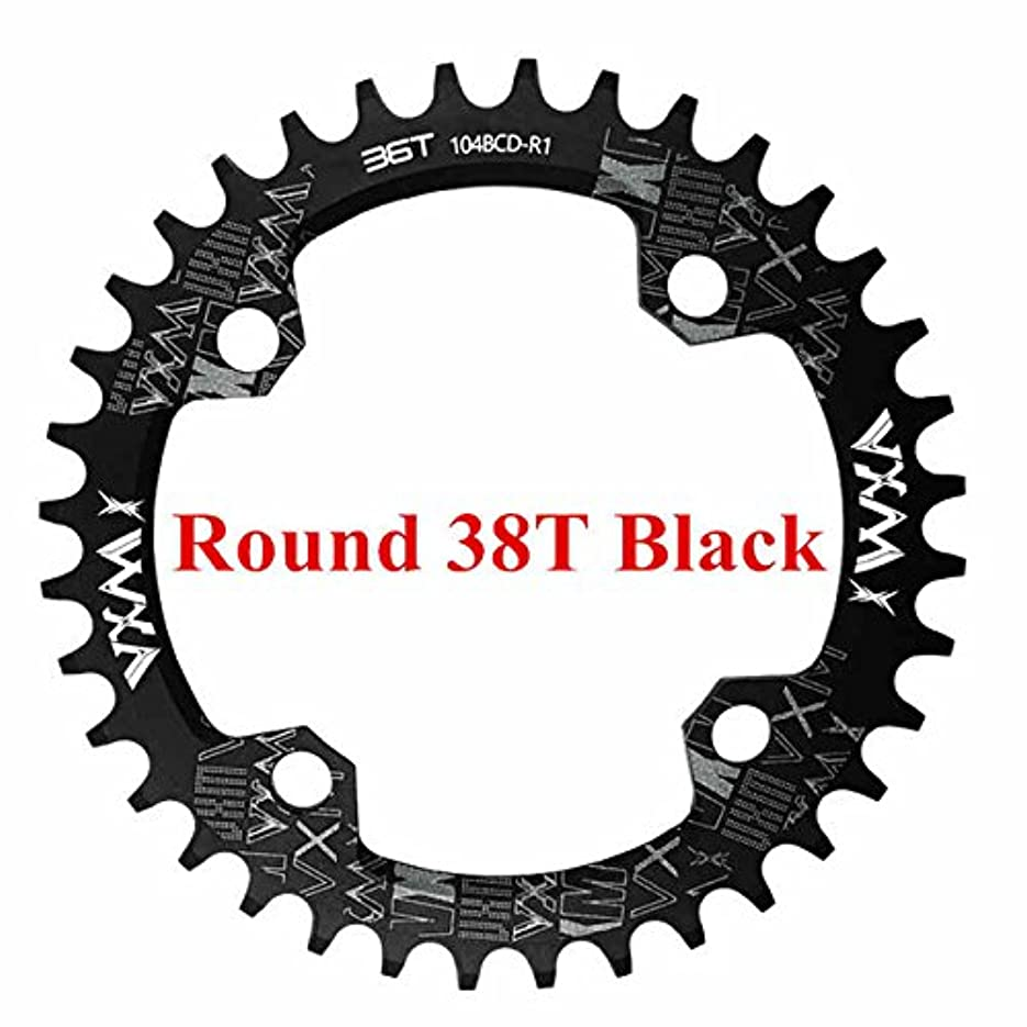 とんでもない貝殻ガイダンスPropenary - 自転車104BCDクランクオーバルラウンド30T 32T 34T 36T 38T 40T 42T 44T 46T 48T 50T 52TチェーンホイールXT狭い広い自転車チェーンリング[ラウンド38Tブラック]