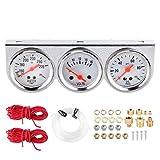 Indicatori temperatura acqua Misuratore temperatura acqua motore per auto manometro 3 in 1 universale Temperatura acqua Volt olio Indicatore acqua Pressa Strumento meccanico da 52 mm