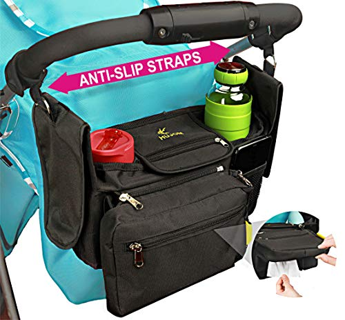Non-Slip Stroller Organizer with Insulated Cup Holders, Shoulder Strap, Diaper Pocket, Detachable Phone Bag & Flexible Wipes Pocket - Universal Fit for Uppababy Vista, Britax, BOB, Cruz & All Others
