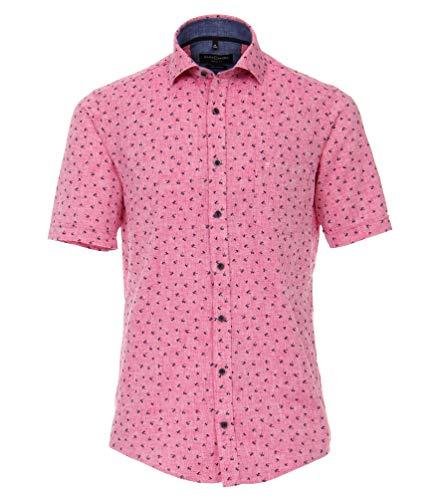 Casa Moda - Casual Fit - Herren Freizeit 1/2-Arm-Hemd aus Leinen mit Kent-Kragen (903419700), Farbe:Rot (400), Größe:XXL