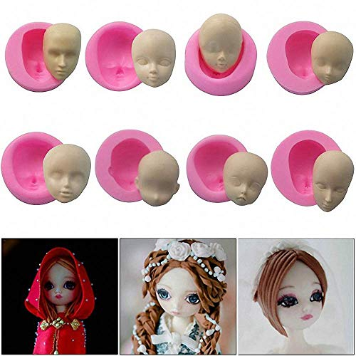 8Pcs/Set 3D Baby Face Soft Clay Mold Tools Doll Faces Silicone Mold Fondant Cake Decorating Tools Chocolate Candy Polymer Clay Soap Resin Moulds