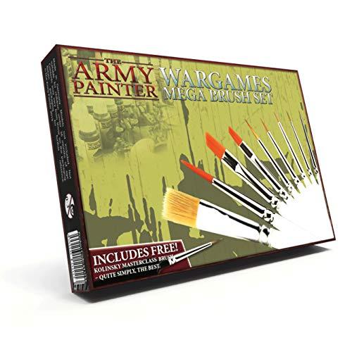 The Army Painter Wargames Mega Brush Set - 10 Miniature Paint Brushes Including Free Masterclass Kolinsky Sable Hair Brush and Detail Paint Brush with Fine Tip - Miniature Painting Kit for Wargamers