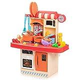 Czemo Cocina Juguete Pink Cocinita 23 Piezas Cocinas de Juguete para Niños Cosplay Juguetes de Niñas con Luz y Efectos de Sonido Cocina de Inducción Fregadero Refrigerador Horno