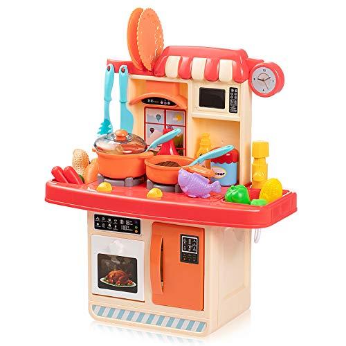 Czemo Cucina Giocattolo per Bambini 23 Accessori Bambina Cucina Rosa Gioco di Cucina con Effetti Sonori e Luminosi Fornello a Induzione Lavello Forno Stoviglie Cibo