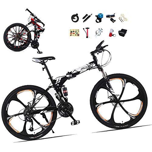 ZHIPENG Vollgefederte Mountainbikes 26-Zoll-Falt-Mountainbike Mit Verschleißfestem Reifenrahmen Aus Kohlenstoffstahl 21-Gang-Getriebe Doppelscheiben-Bremsräder,C,24 inches