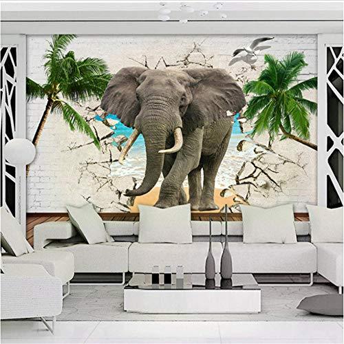 Newberli Papel Tapiz Fotográfico Personalizado 3D Elefante Pared Rota Árboles De Coco Sala De Estar Dormitorio Tv Fondo Decoración De Pared Animal Mural Papel Tapiz
