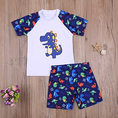 Bañador para Niños Pequeños 2 Piezas Traje de Natación Verano Camiseta de Manga Corta Pantalones Cortos Ropa de Baño con Estampado de Dibujos Animados (Blanco, 11-12 Años)