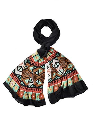Intermoda XXL Schal Aztekenmuster I Rautenmuster, im Ethno Inka Boho Muster, Tuch, Damen, schwarz