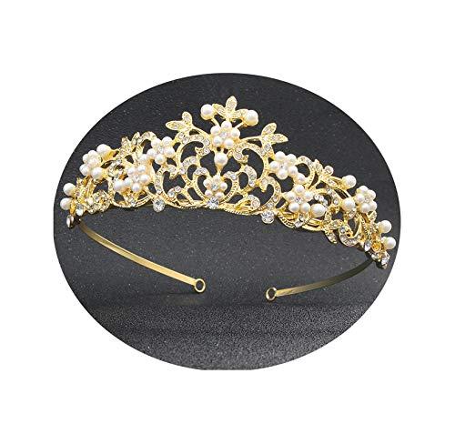 ANAZOZ Haarschmuck Hochzeit Pearl Flower Hollow Crown Zirkonia Schmuckstirnbänder Raut Haarkamm Clip Gold Brautschmuck Kopfschmuck