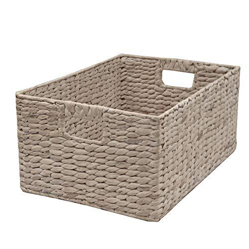 Casa Furnishings - Cesta de mimbre, estante o cajón - cesta de jacinto de agua blanqueada., Blanco lavado., Medium - L 39 x W 24 x H 18 cm