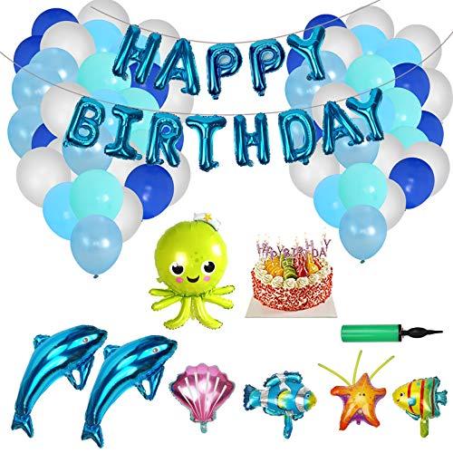 Herefun 67 piezas Globos Decoraciones Para Fiestas de Cumpleaños Azules blanco, tema sea delfín Pez payaso cáscara, Para Niño Niña infantiles 1, 2 años Adornos birthday, Bodas, Baby Shower