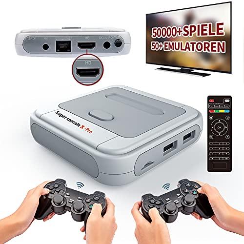 Kinhank Super Console X PRO-Videospielkonsole - Integrierte 50.000+ Spiele mit 2 Gamepads, Spielekonsolen für 4K-TV-Unterstützung HD-Ausgang, LAN / WiFi, Geschenke für Männer, die alles haben