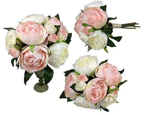 GMMH Bouquet de pivoines - 32 cm - Fleurs artificielles en Soie - 9 Fleurs (Blanc/Rose Clair)