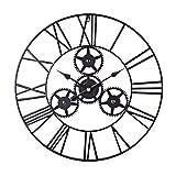 H0_V Wanduhr Vintage, Lautlos Metall Wanduhr Durchmesser 50cm(20in) Wanduhr ohne Tickgeräusch 3D Dekorative Zahnrad mit Römischen Ziffern
