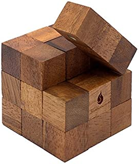 SiamMandalay Snake Cube: Handmade & Organic Twisty 3D Brainteaser Wooden Puzzle for Adults from with SM Gift Box(Pictured)