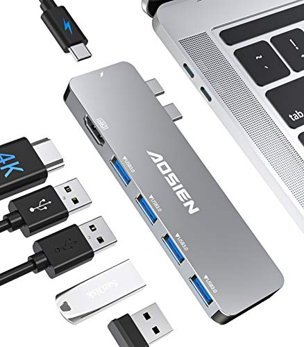 Soicear USB C hub adapter for MacBook, with Thunderbolt 3 100W PD, 4K HDMI port, 4 x USB 3.0 data transfer for MacBook Pro 2020/2019/2018/2017/2016, MacBook Air 2020 2019 2018.