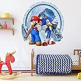 Super Mario 3D Pegatinas 3D Vinilo Decorativo Infantil de Pared 3D Super Mario Vinilo Pegatinas Decorativas Adhesiva Pared Dormitorio Salón Guardería Habitación Infantiles Niños Bebés 32 *30.6 cm