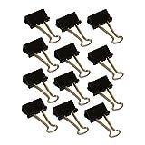 Wedo 6421425 Foldback Klammern, lackiertes Metall abnehmbare Bügel, starke Feder, 25 mm, 12 Stück, schwarz/silb