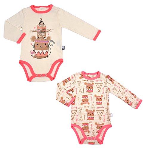 Petit Béguin - Lot de 2 bodies bébé fille Totem Party - Couleurs - Beige, Longueur des manches - Manches longues, Taille - 18 mois (86 cm)