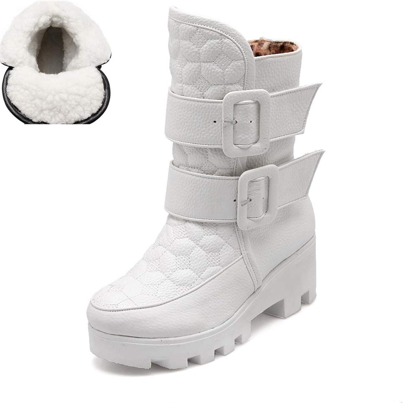 JOYBI Woman Waterproof Platform Snow Boots Warm Buckle PU Round Toe Winter Chunky Mid Heel Mid-Calf Boots