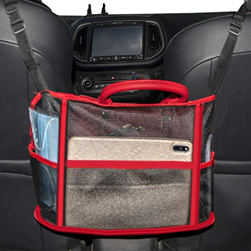 Car Net Pocket Handbag Holder with Multi Pockets, Driver Storage Netting Pouch, Car Hooks for Purses and Bags Front Seat, Handbag Holder for Car, Handbag Holder Attaches to Headrest (Red)