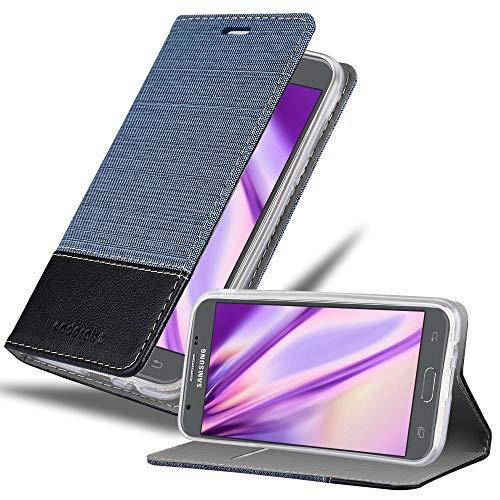Cadorabo Funda Libro para Samsung Galaxy J3 2017 en Azul Oscuro Negro - Cubierta Proteccíon con Cierre Magnético, Tarjetero y Función de Suporte - Etui Case Cover Carcasa