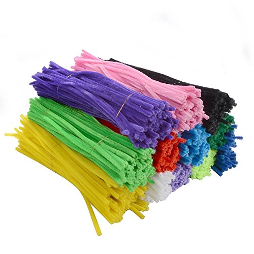 """Saim Cleaners Chenille Stems Pipe DIY 12"""" for Creative Handmade Arts and Crafts, 12 Colors"""