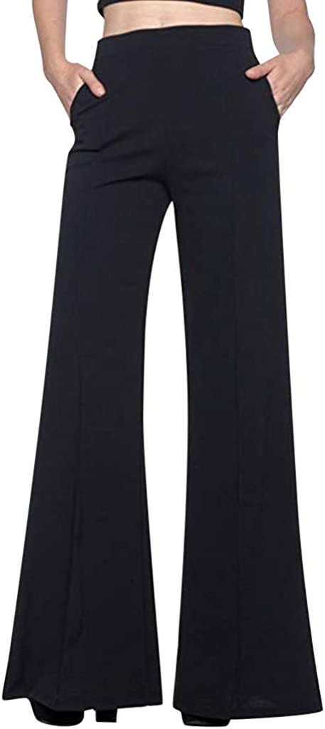 Limited time sale iYYVV Womens High Waist Wide Leg Fashion Trousers Loo Long Solid 2021 spring and summer new