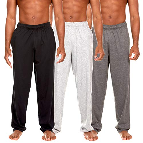 Essential Elements 3 Pack: Men's 100% Cotton Jersey Jogging Lounge Casual Sleep Drawstring Pants with Pockets (X-Large, Set B)