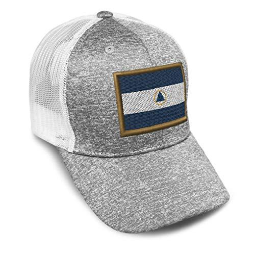 Custom Trucker Hat Jersey Baseball Cap Nicaragua Embroidery Tri Blend for Men & Women Snapback Light Grey Design Only