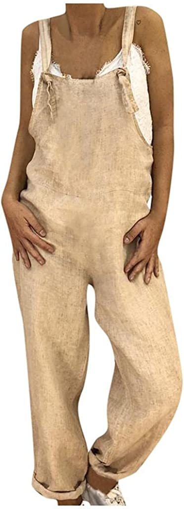 WUAI-Women Casual Loose Baggy Jumpsuits Sleeveless Spaghetti Strap Linen Cotton Wide Leg Harem Overall Romper Plus Size