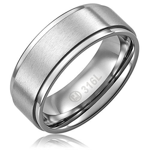 Cavalier Jewelers 8MM Stainless Steel Promise Engagement Rings for Men | Wedding Bands for Him | Brushed Top and Polished Edges [Size 10]