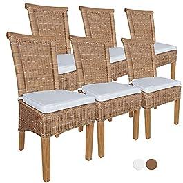 casamia Lot de 6 chaises de salle à manger Perth en rotin sans dossier avec coussin d'assise