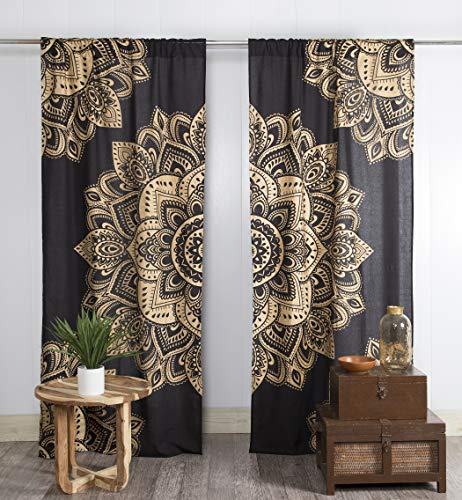 Popular Handicrafts Indian Hippie Bohemian Beautiful Passion Ombre Black Color Mandala Curtain Panels Gold