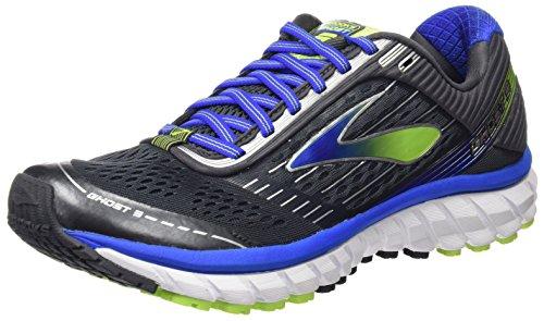 Brooks Herren Ghost 9 Laufschuhe für das Training auf der Straße, Multicolore (Anthracite/Electric Blue/Lime Punch), 44.5 EU