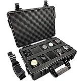 ModernGen 10 Slot Watch Box Travel Case - Heavy Duty Plastic Impact Resistant Waterproof