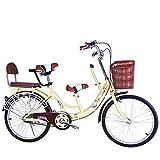 FLYFO Bicicletas Tándem para Padres E Hijos, Bicicletas para Madres E Hijos De 22 Pulgadas, Bicicletas para Hombres Y Mujeres para Madres Y Bebés, Bicicletas,Amarillo
