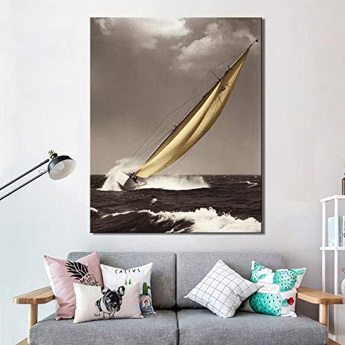 kdjshhs Malerei Modern Seascape Poster Und Drucke Wandkunst Malerei Auf Leinwand Wanddekoration Segelbilder Für Wohnzimmer Dekor Kein Rahmen