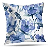 N/A Colorful Flowers Almohada Cover, Bright Exotic Bouquet from Flowers with Watercolor Decorative Throw Almohadas Cushion Cover for Bedroom Sofa Living Room 18 x 18 Inch
