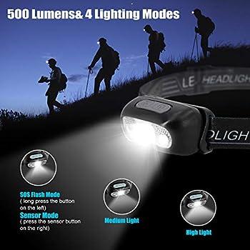 Hearkey Lampe Frontale LED USB Rechargeable Puissante Super Lumineux, Torch Frontale avec 500 LM, 3 Modes d'Éclairage, IPX1 Étanche, Détecteur de Mouvement Lampe pour Enfants,Running,Lecture etc.