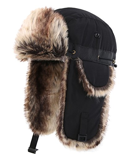 Connectyle Unisex Faux Fur Lined Trooper Trapper Hat Warm Winter Hunting Hats with Ear Flaps