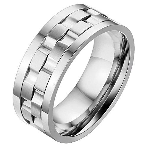 OIDEA - Anillo de acero inoxidable para hombre, giratorio, con rueda plateada, tamaño a elegir Argento 14.5