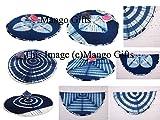 Mango Gifts Indigo Tie-Dye Round Roundie Beach Throw Indian Tapestry, Hippie Yoga Mat Decor Wholesale Lot 6Pcs