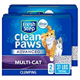 Fresh Step Advanced Clean Paws Clumping Cat Litter, Low Tracking Cat Litter with Odor Control - 37 lb (2x18.5lb Pack), Gray (32401)