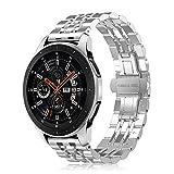 FINTIE Cinturino Compatibile con Galaxy Watch 46mm/Galaxy Watch 3 45mm/Gear S3 Frontier/Gear S3 Classic Smartwatch, Braccialetto di Acciaio Inossidabile di Catena con Chiusura Pieghevole, Argento